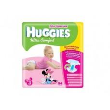 Подгузники HUGGIES Ultra comfort для девочек 3 (5-9кг), 94шт