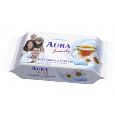 Влажные салфетки AURA family, 63шт