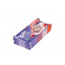 Молочный шоколад MILKA с двухслойной начинкой клубника со сливками, 90г, 5 штук