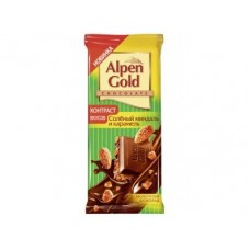 Шоколад ALPEN GOLD соленый миндаль и карамель, 90г, 20 коробок