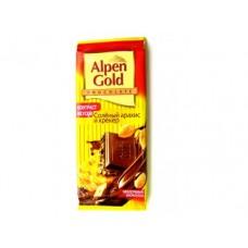 Молочный шоколад ALPEN GOLD соленый арахис и крекер, 90г, 5 штук