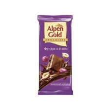 Шоколад ALPEN GOLD Фундук и Изюм, 100г, 5 штук