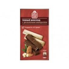Шоколад FINE LIFE темный с дробленым миндалем,100г, 3 штуки