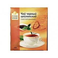 Чай FINE FOOD цейлонский черный пакетированный, 100х1,8г, 1 штука