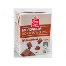Молочный коктейль FINE LIFE Шоколадный 3,2%, 200г, 1 штука