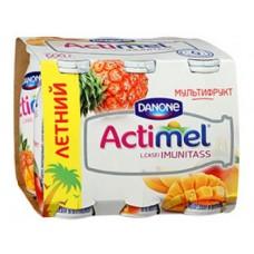 ACTIMEL мультифрукт, 100 г, 6 штук