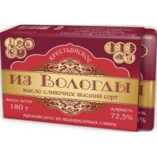 Масло ИЗ ВОЛОГДЫ Крестьянское 72,5%, 180г, 1 штука